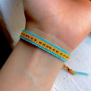 Jewelry - $4 Bundled❥ Blue | Neon Orange Boho Woven Bracelet
